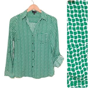 The Limited Green & White Button Up Blouse